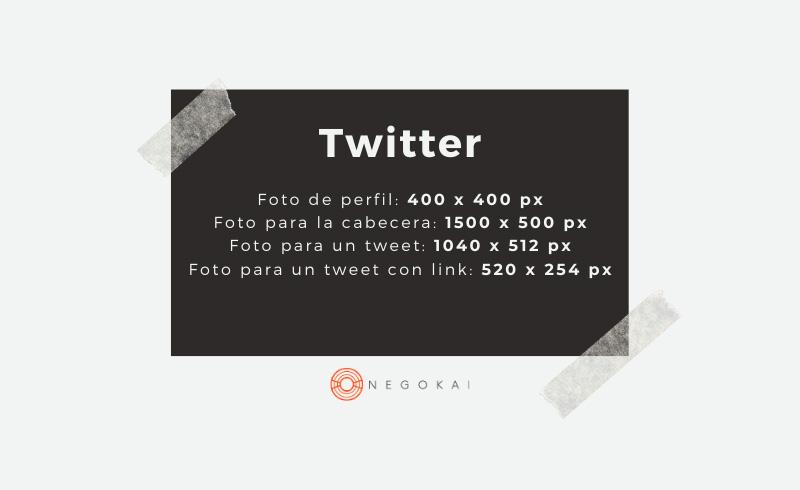 Medidas imágenes Twitter