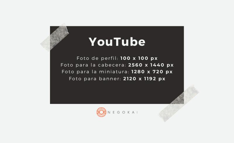Medidas imágenes youtube