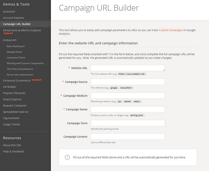 Medir URL con builder de Google